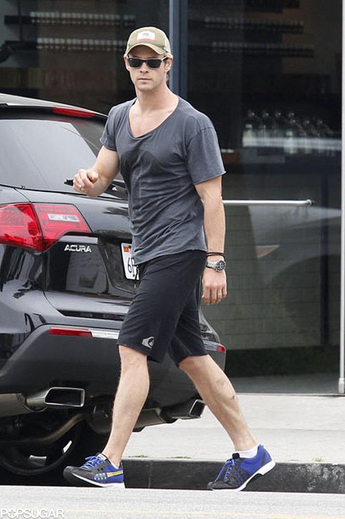 Chris Hemsworth walked across the street solo in LA on Wednesday.