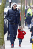 Harper Beckham held hands with dad David Beckham for a London stroll.