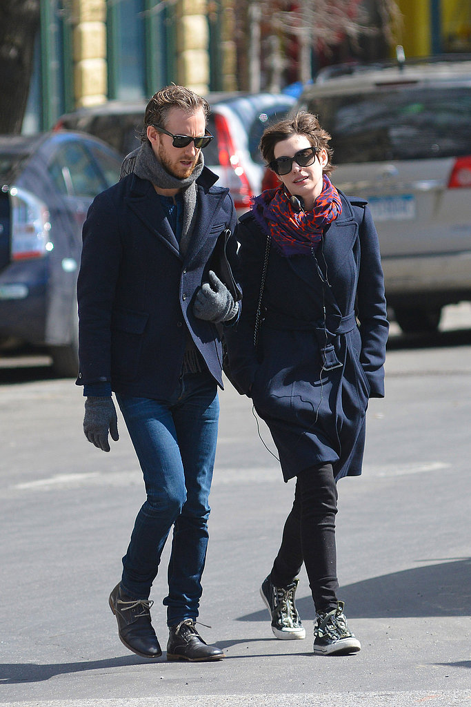 Anne Hathaway and Adam Shulman Layer Up in Brooklyn