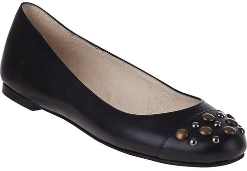 MICHAEL MICHAEL KORS Studded Ball Ballet Flat Black Leather