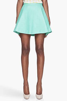 BALMAIN Mint green pleated Leather Skirt