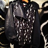 BCBG Max Azria's printed update to the classic moto jacket.