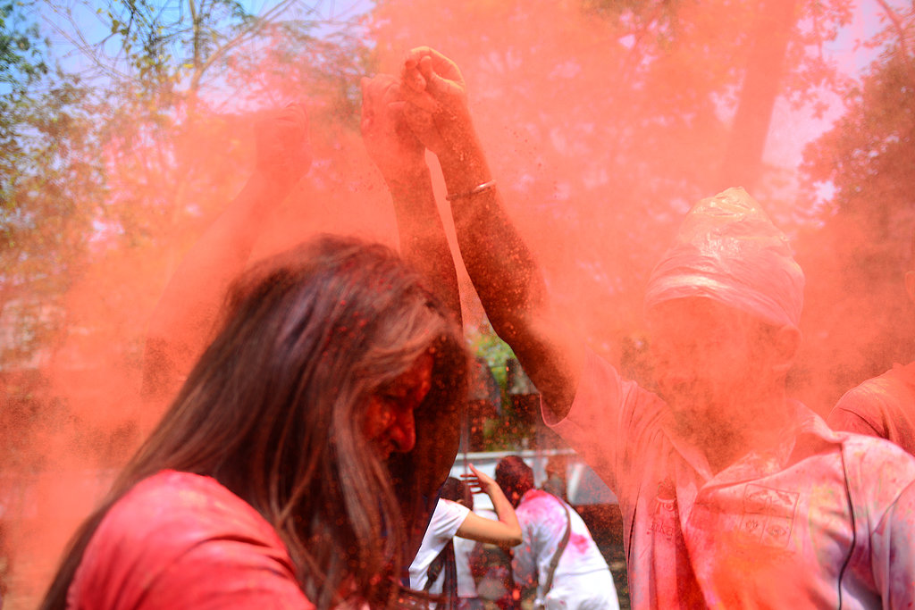 People celebrated Holi in Dhaka, Bangladesh.