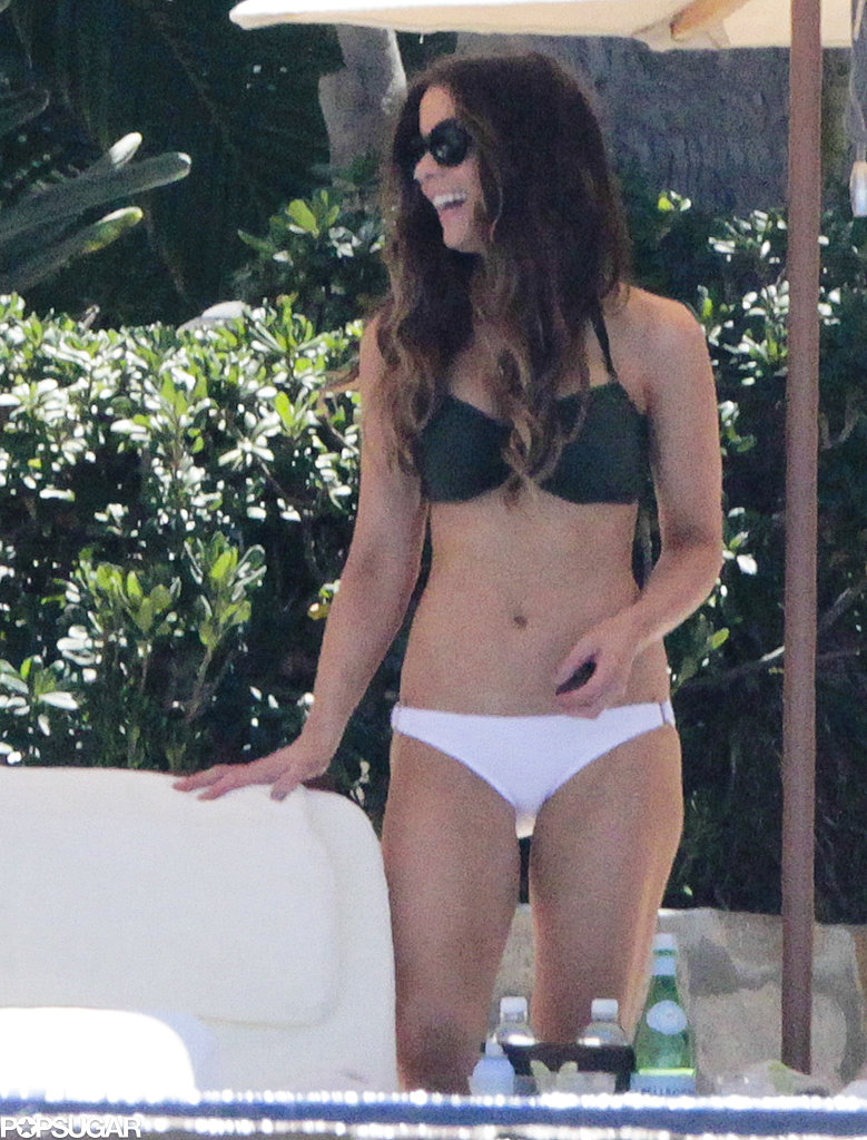 Kate Beckinsale lounged in a bikini on vacation.