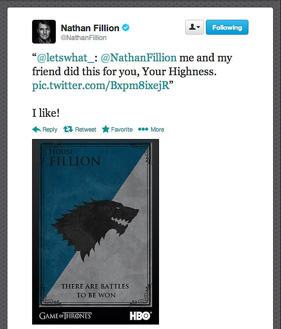 "Actor Nathan Fillion's house motto reads, ""There are battles to be won."""