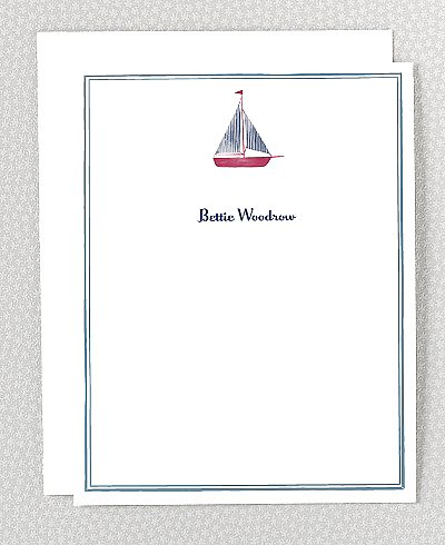 Hello!Lucky's sailboat stationery ($45 for a set of 25) features an adorable red and blue boat for your favorite little captain.