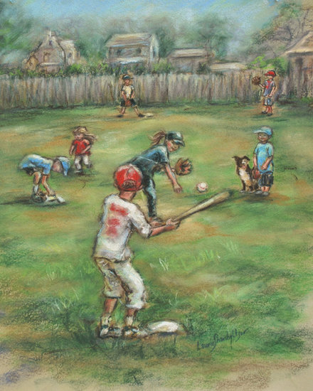 This vintage-looking children playing print ($18) of an original pastel painting would be great for your baseball-loving little girl's room.