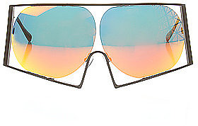 Linda Farrow Projects The Todd Lynn x Linda Farrow Black Metal Oversized Sunglasses with Round Orange Revo Lens