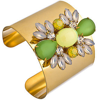 Yochi Gold Crystal Green and Yellow Ornaments Wide Cuff Bracelet