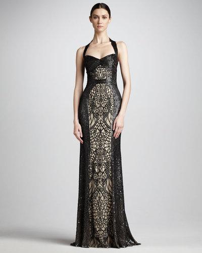 Monique Lhuillier Sequin-Lace Halter Gown
