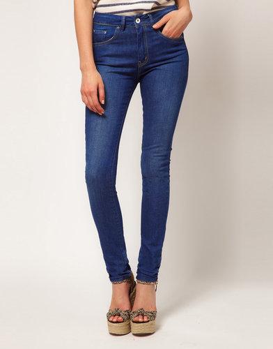 ASOS High Waist Skinny Jeans in Vintage True Blue