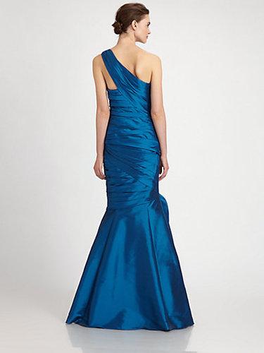 ML Monique Lhuillier One-Shoulder Taffeta Gown