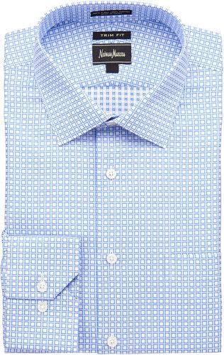 Neiman Marcus Trim-Fit Check Dress Shirt, Blue