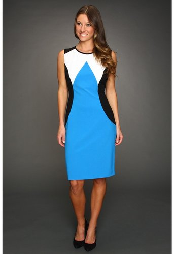 Calvin Klein - Striking Colorblock Ponte Dress (Mediterranean) - Apparel