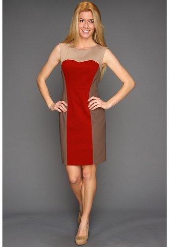 Suzi Chin for Maggy Boutique - Sleeveless Colorblock Sheath (Rustic Multi) - Apparel