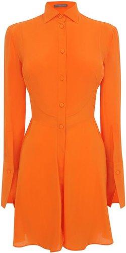 Orange Tuxedo Ruffle Shirt Dress