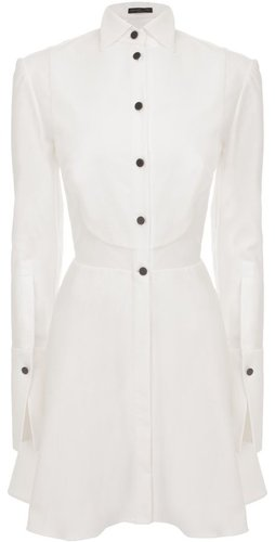 White Piquet Bib Peplum Shirt-Dress