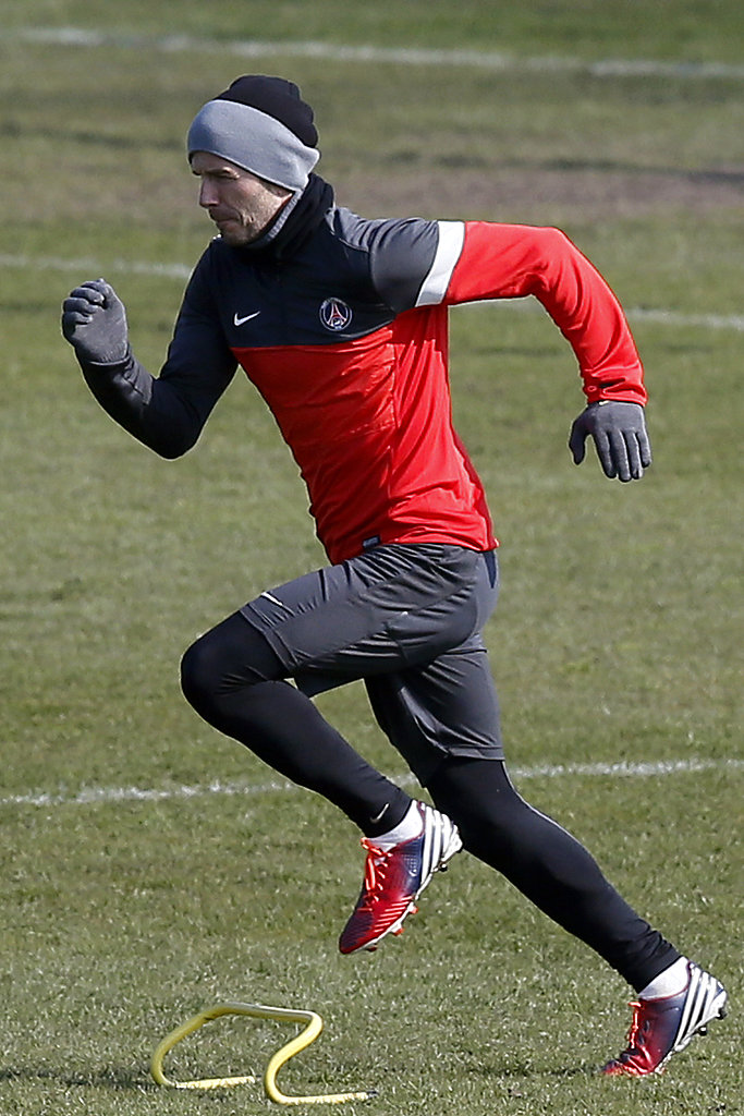 David Beckham hit the field for practice with Saint-Germain.