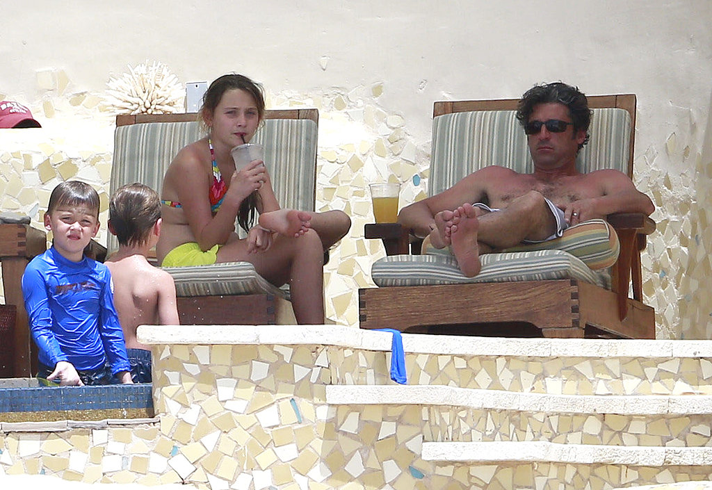 Patrick Dempsey worked on his tan with his family in Mexico on Sunday.