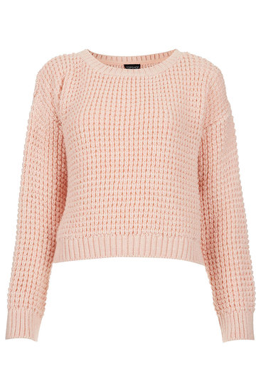 Topshop Knitted Textured Crop Jumper