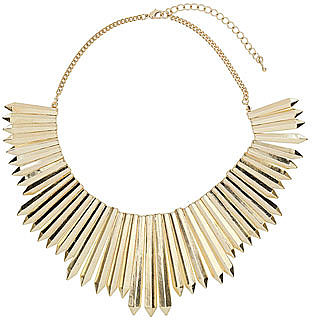 Gold pencil spike necklace