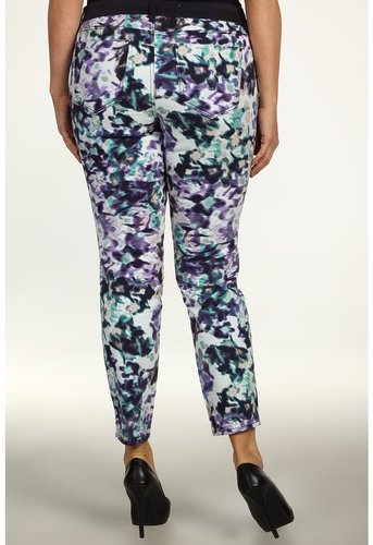 DKNY Jeans - Plus Size Mystic Floral Print Jegging w/ Tuxedo Stripe (Heron Navy) - Apparel