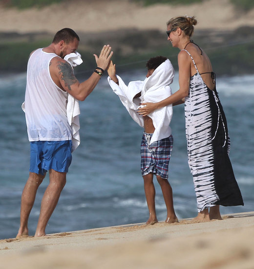 Heidi Klum and Martin Kristen took Henry to the beach in Hawaii.