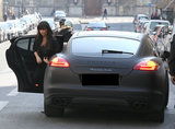 Kim Kardashian stepped out of a Porsche in Paris.
