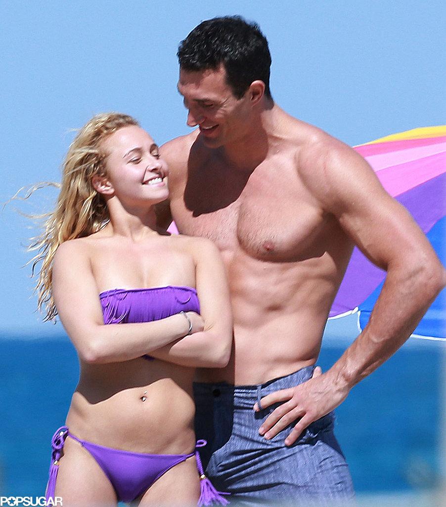 Hayden Panettiere wore a purple bikini on the beach with her boyfriend.