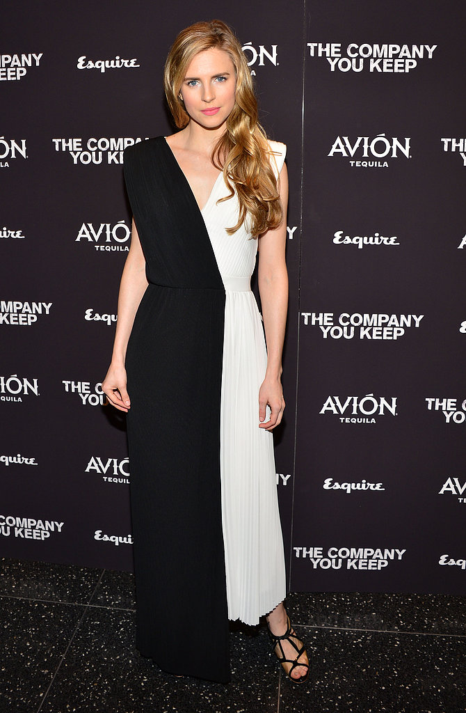 Brit Marling donned a beautiful Viktor & Rolf black-and-white silk gown with pleated detailing at The Company You Keep premiere in NYC.