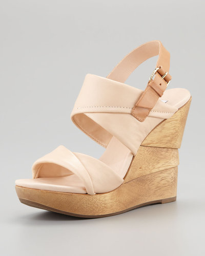 Diane von Furstenberg Ophelia Leather Wedge Sandal, Nude