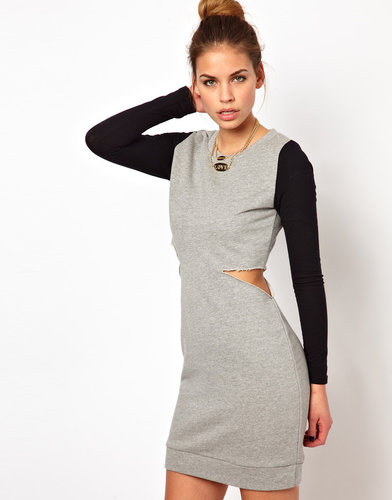 Glamorous Sweat Dress with Cut Out and Contrast Sleeve