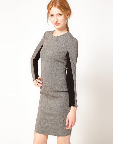 French Connection Tweed Pencil Dress with Contrast Sides