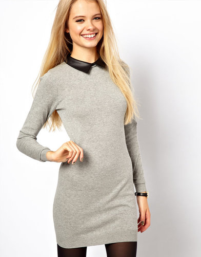 ASOS Sweater Dress With Leather Look Collar