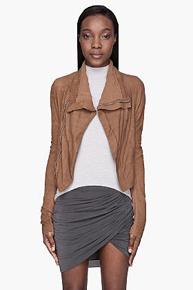 RICK OWENS Camel brown textured leather Naska Biker jacket