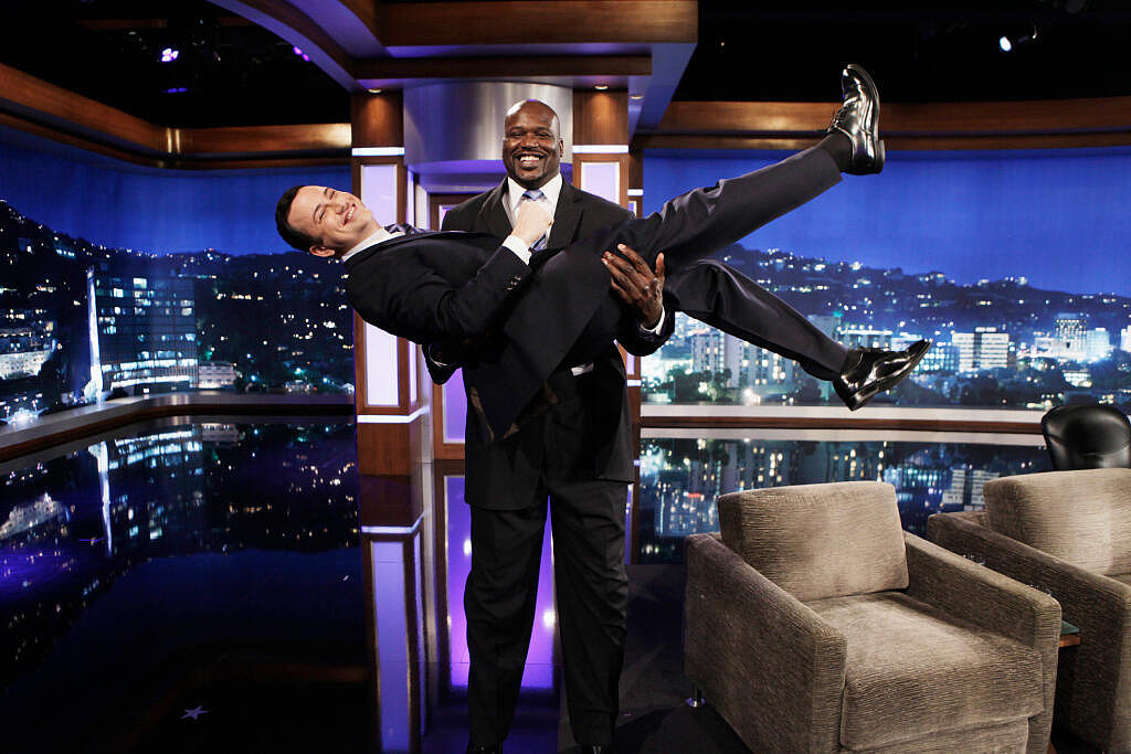 Shaquille O'Neal held up Jimmy Kimmel on the late-night host's show. Source: Twitter user jimmykimmel