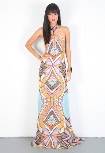 Sarina Halter Layered Long Dress in Venetian Mint - by Alexis