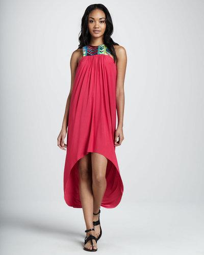 T Bags Hi-Lo Embellished-Neck Dress