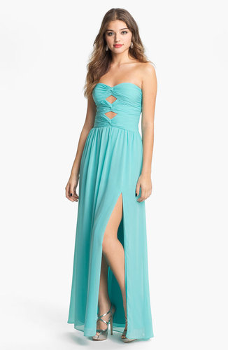 Hailey by Adrianna Papell Cutout Detail Twist Mesh Gown