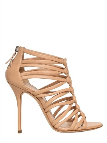 100mm Nappa Leather Peplum Sandals