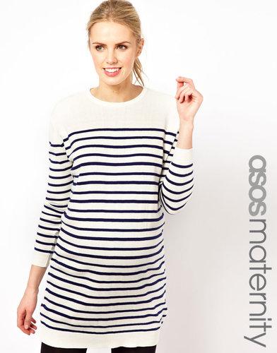 ASOS Maternity Knitted Dress In Sailor Stripe