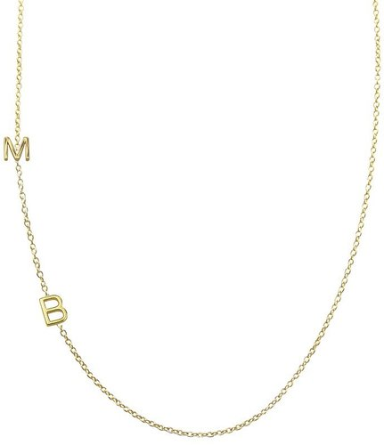 Maya Brenner Asymmetrical Mini Letter Necklace- Two Letters (Ships 4 Weeks from Order Date)