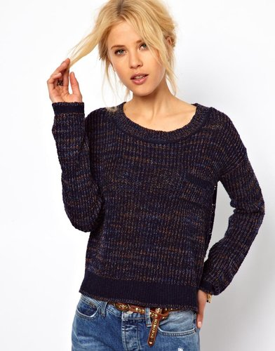 Free People Sweater with Crochet Panel to Back