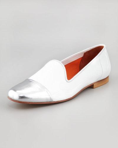 Bettye Muller Premier Metallic Cap-Toe Suede Smoking Slipper, White/Silver