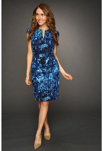Calvin Klein - Printed C/S Dress (Cobalt/White Multi) - Apparel