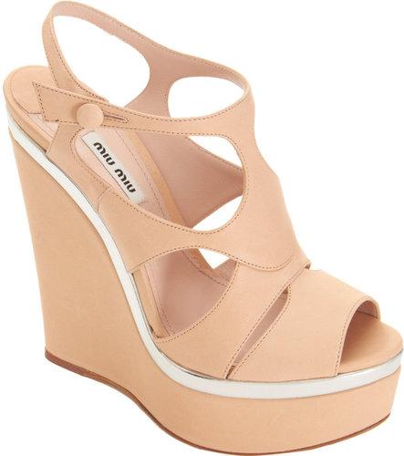 Miu Miu Peep Toe Platform Wedge Sandal