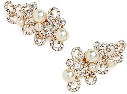 Gold Pearl Scroll Ear Cuffs