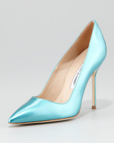 Manolo Blahnik BB Bright Patent Pump, Turquoise