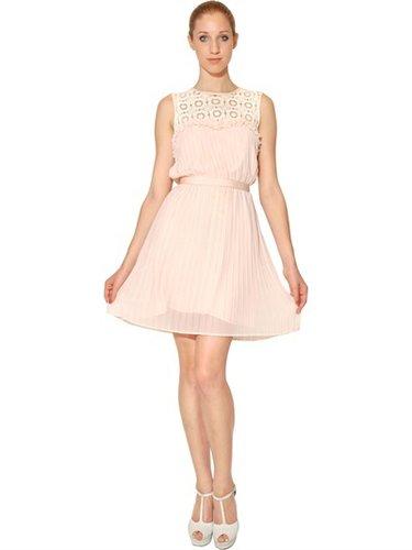 Lace Macramé And Techno Chiffon Dress