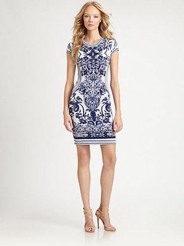 Roberto Cavalli Floral Intarsia Knit Dress